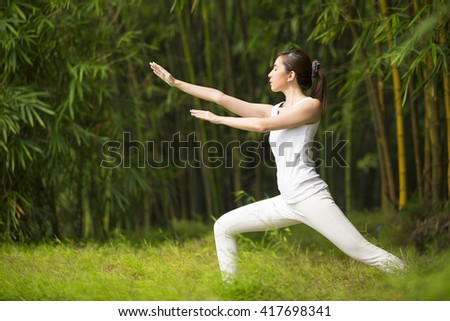 Asian woman practicing Tai Chi in a garden. healthy lifestyle and relaxation - stock photo
