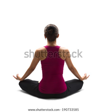 Asian woman practicing yoga, Isolated over white - stock photo