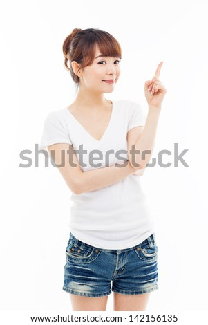 Asian woman present something isolated on white background. - stock photo