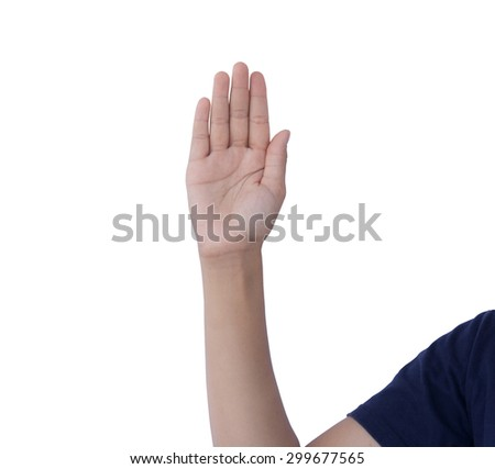 Asian woman raised her right hand as a symbol. White background.