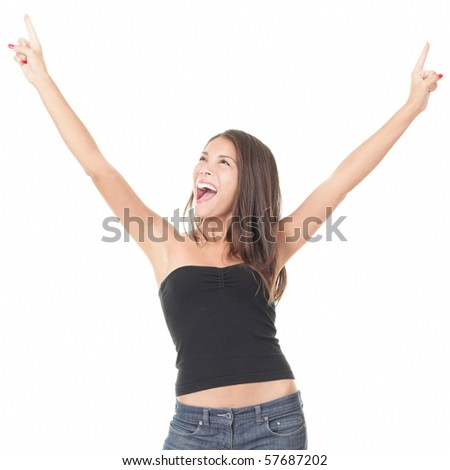 Asian woman screaming excited and elated of joy isolated on white background. - stock photo