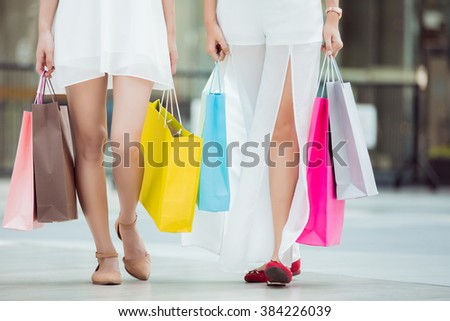 Asian woman shopping with her friends shopping