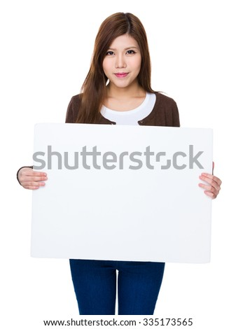 Asian Woman show with white banner