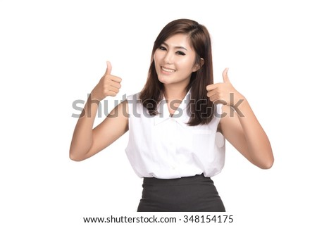 Asian woman showing thumb up, Closeup portrait of beautiful Asian woman, Thai girl, Positive human emotion facial expression, isolated on white background - stock photo