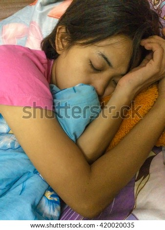 Asian woman sleeping good dream