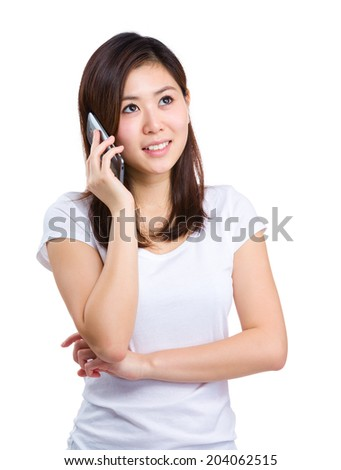 Asian woman speak to phone