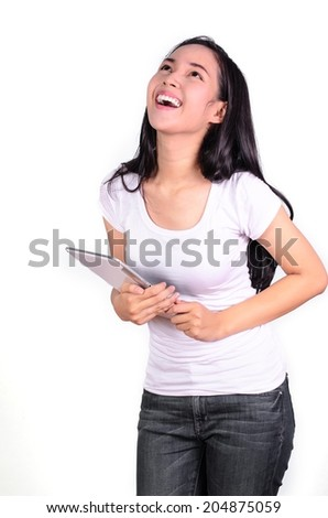 asian woman student happy and holding a computer tablet Isolated