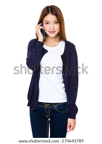 Asian woman talk to mobile phone - stock photo