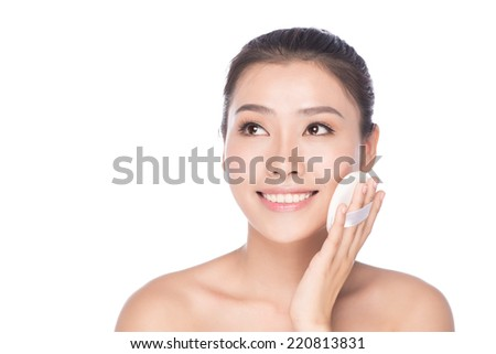 Asian woman thinking in looking pensive and happy. Portrait of a beautiful woman with clean skin of the face - isolated on white background, asian beauty - stock photo