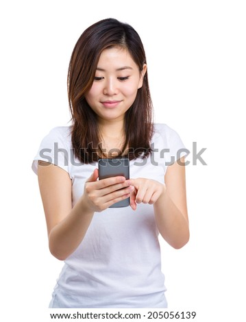 Asian woman use cellphone for text message