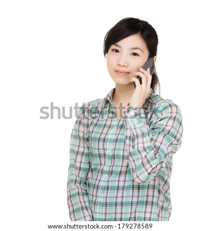 Asian woman using mobile - stock photo