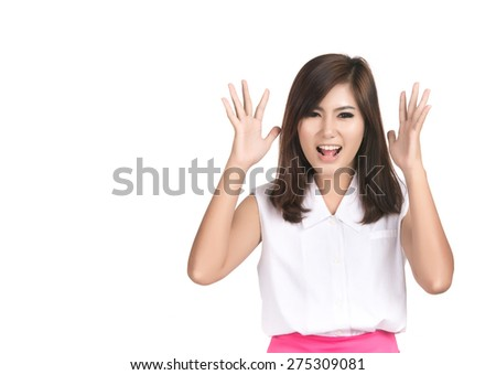Asian woman very frustrated and angry and screaming with blank copyspace area for text or slogan,Portrait Asian woman,Thai girl,Negative human emotion facial expression,isolated on white background - stock photo