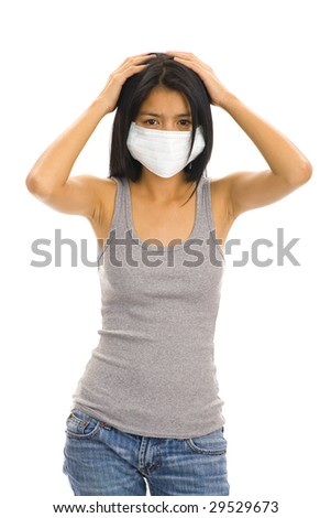 asian woman wearing a protective face mask - stock photo