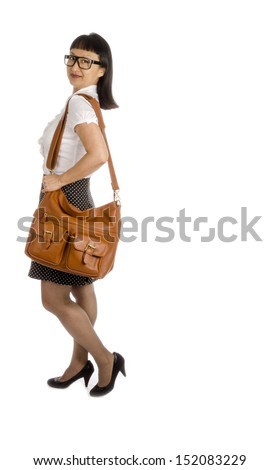 Asian Woman Wearing Black Eye Glasses and Office Outfit Isolated on White