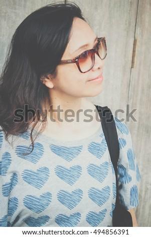 Asian Woman Wearing Sun Glasses Smile Stock Photo 494856391