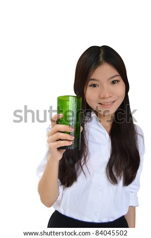 Asian woman with a glass of water isolated on white - stock photo