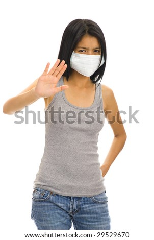asian woman with a protective face mask - stock photo