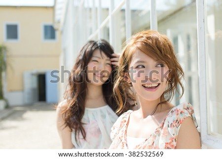 Asian woman with beauty face and hair style - stock photo
