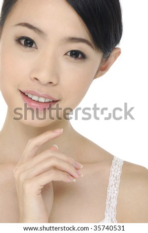 Asian woman with health skin of face - stock photo