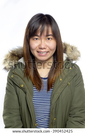 Asian woman with smile - stock photo