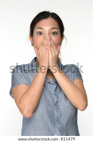 asian woman with surprise expression - stock photo