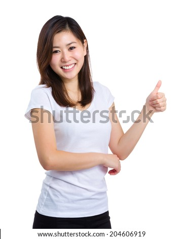 Asian woman with thumb up - stock photo