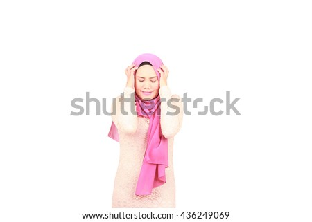 Asian woman worried with the hands in the head isolated on a white background - stock photo