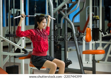Asian women All exercises are the shoulder and chest muscles - stock photo