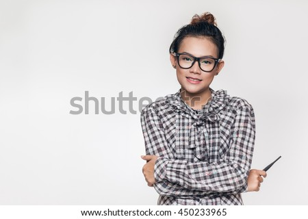 Asian women are smiling and happy.  - stock photo