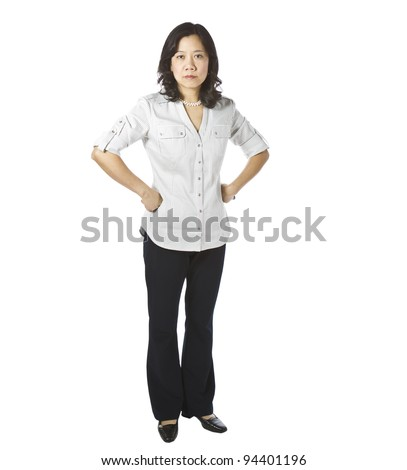 Asian women expressing anger in business causal clothing on white background - stock photo