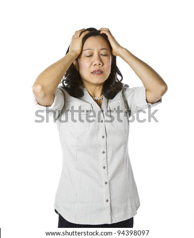 Asian women expressing frustration dressed in casual work clothing on white background - stock photo