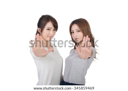 Asian women give you a sign of stop. - stock photo