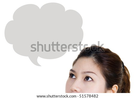 Asian women looking up isolated on white - stock photo