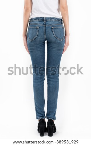 asian women posing in jeans and white T-shirt back views,isolated on white background. - stock photo