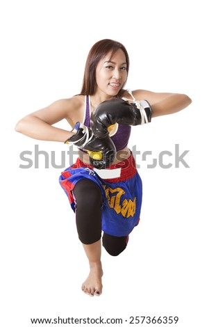Asian women wearing dresses thai boxing on white background