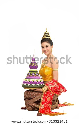 Asian women wearing typical thai dress with isolated on white background, identity culture of thailand,Loy Kratong Festival - stock photo