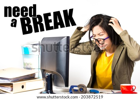 asian working woman shooting in studio - stock photo
