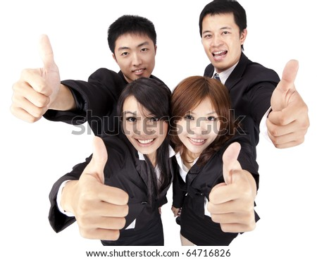 Asian young and success business team with thumb up - stock photo
