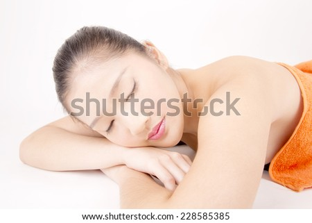 Asian young beautiful woman with flawless complexion sleeping and relaxing
