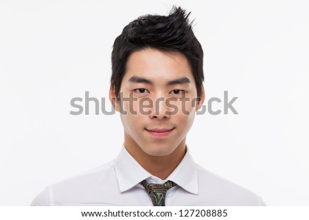 Asian young business man close up shot  isolated on white background. - stock photo