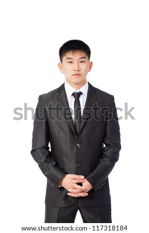 asian young business man confident serious, portrait of angry businessman wear elegant suit and tie isolated over white background