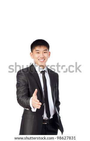 asian young business man handshake, hold hand welcome gesture happy smile, portrait businessman wear suit and tie isolated over white background - stock photo