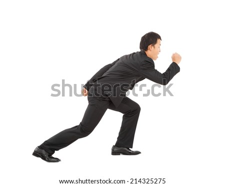 asian young businessman sprinting isolated on white background