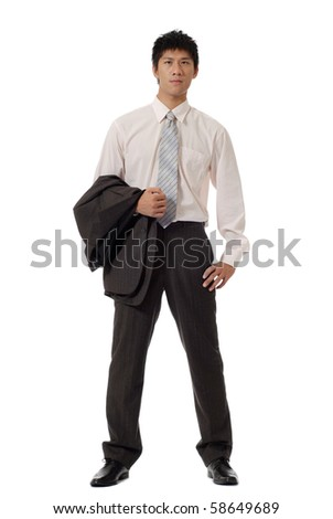 Asian young businessman with coat on hand, full length portrait isolated on white background.