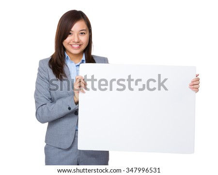 Asian Young Businesswoman showing with white banner