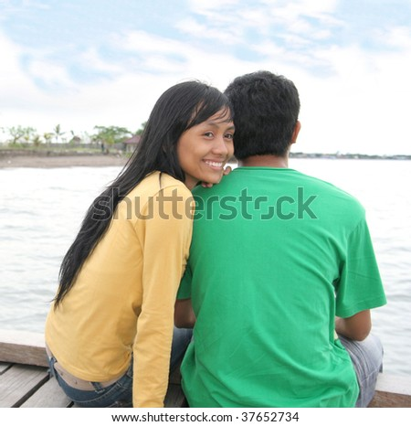 asian young couple - stock photo