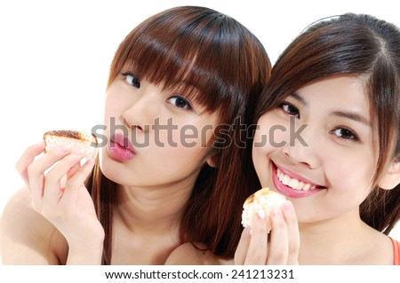 Asian young couple woman holding sushi - stock photo