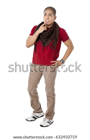 Asian young male in casual clothing isolated on white background