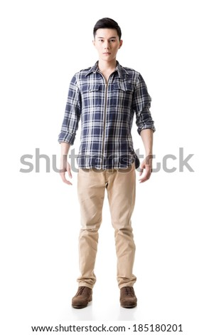 Asian young man, full length portrait isolated on white. - stock photo
