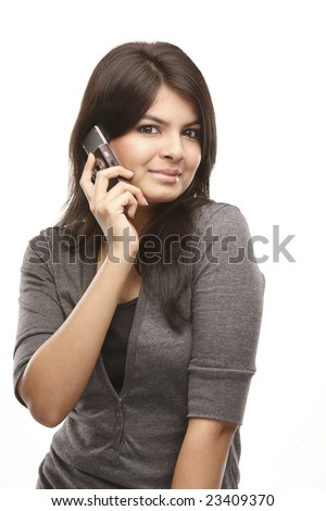Asian Young smiling woman calling by phone. Over white background - stock photo